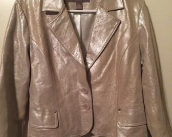 Metallic Leather Two Button Blazer Jacket
