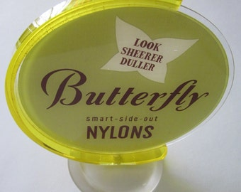 60s Vintage Advertising Piece Butterfly Nylons Store Shop Advertising Globe on Stand