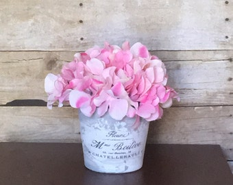French terra cotta flower pot with artificial or dried flowers in buyers choice of color