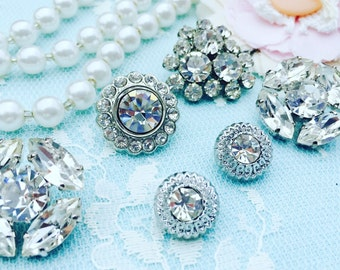 Mix Vintage Buttons/Silvery Collection/Shabby Chic Buttons/MBV0003/Buttons/Rhinestone Buttons/Glass Buttons/Bride Bouqet, Jewelry