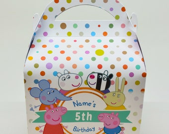 Peppa Pig Personalised Children's Party Box Gift Bag Favour