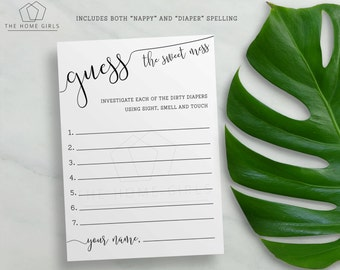 Baby Shower Guess the Sweet Mess game   Baby Shower Nappy Diaper Game   Guess the Mess   Printable Cards   Calligraphy   Instant Download