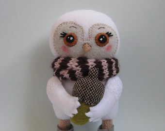 Handmade Plush Owl. Owl With an Acorn. Soft Art Creature Toy.