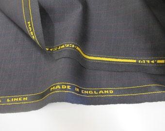 "Dark Navy Checked ""Super Lightweight Wool & Linen"", English Suiting Fabric."