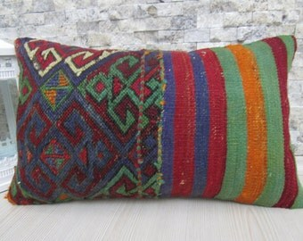 Anatolian Needle Point Kilim Pillow 12 x 20 Very Fine Workmanship Vintage Kilim Pillow Lumbar Turkish Sofa Bolster