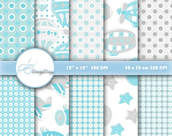 Scrapbook Paper, Hot Air Balloon, Digital Paper, Air plane, Paper Zeppelin, Blue Paper, Digital Scrapbook Paper, Crafts, Blue Collection