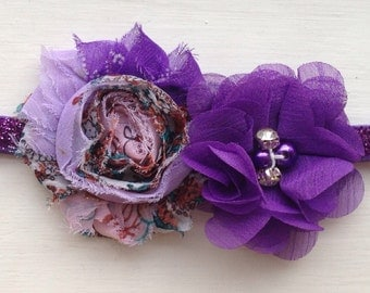 Frosted headband with shabby chic chiffon flowers