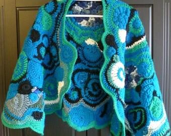 Turquoise freeform crocheted shawl wrap