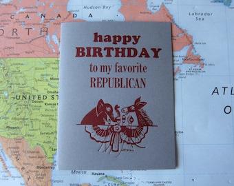 Letterpress Birthday Card - Happy Birthday to my Favorite Republican