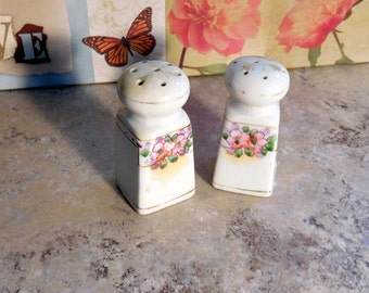 Vintage Salt and Pepper Shakers White With Floral Design