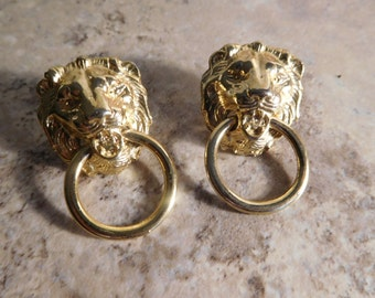 Vintage Lion Door Knocker Gold Toned Pierced Earrings