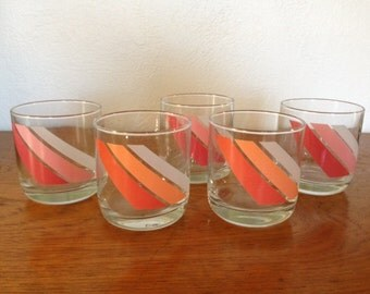 Vintage striped high ball bar glasses- set of 5