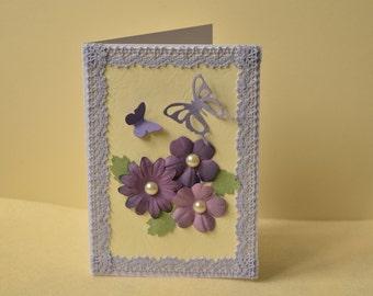Handmade card, floral card, butterfly card