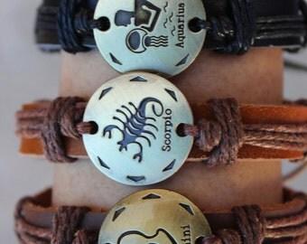 Zodiac Couple Twine Weaving Handmade Genuine Leather Bracelet