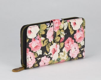 Oilcloth Clutch wallet- Pink rose - Oil cloth ladies purse - Zip around wallet - Bifold wallet- Coin purse- Laminated cotton - Iphone Plus