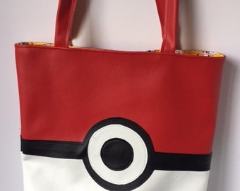 Pokeball vinyl tote bag