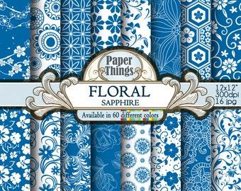 Blu Sapphire Floral Digital Paper, Blue Digital Flower Background - Floral Scrapbook Papers with Printable Blu Sapphire Backdrops