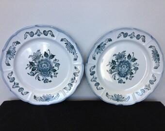 Set o f 2 Metlox Poppytrail Colonial Garden Blue Dinner Plates