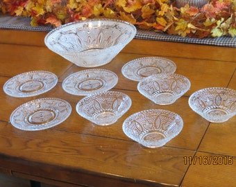 Federal Glass; Heritage pattern 9 pieces Federal Glass Heritage
