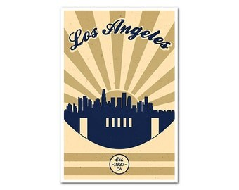 Los Angeles California Football Poster with a Vintage Look