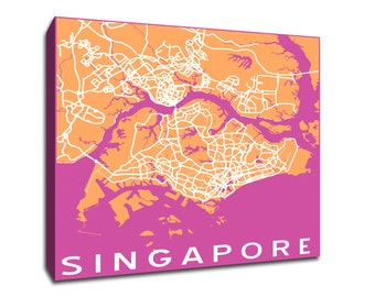 Singapore Map printed on gallery-wrapped canvas