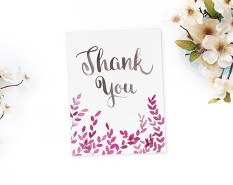 Thank You Cards -  Watercolor Branches -  Hand Lettering -  Single Card -  Individual Notecard