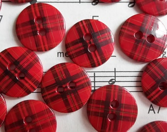 2 hole Tartan Button 15mm x 50 pieces