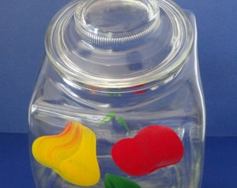 Vintage Bartlett Collins Glass Gay Fad Fruit Design Tilt Canister Jar