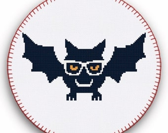 Bat Cross Stitch, Penguin Cross Stitch Pattern, Cross Stitch Pattern, Hipster Cross Stitch, Printable Cross Stitch Patterns