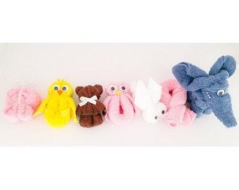 Baby Shower Favors - Washcloth Favors - Washcloth Animals - Washcloth Creations - Washcloth Elephant - Washcloth Teddy Bear
