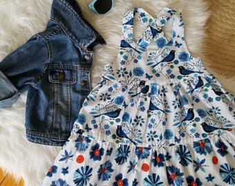 Blue birds dress, little girl, organic cotton