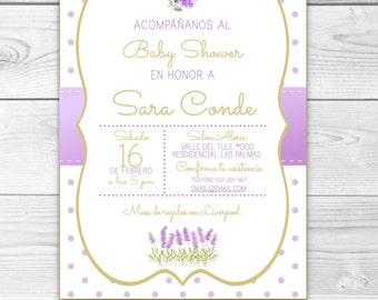 Invitation Floral Baby Shower Digital, downloadable, custom-lilac, violet, lavender, flower garden flower.