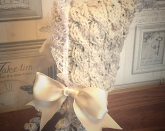 lace and bow knitted pixie hat