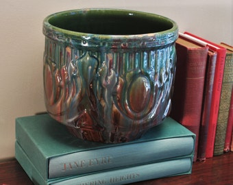 Antique Early McCoy Jardiniere Planter Mojolica Glaze Shield Motif 1920s Unusual Color Drip Glaze