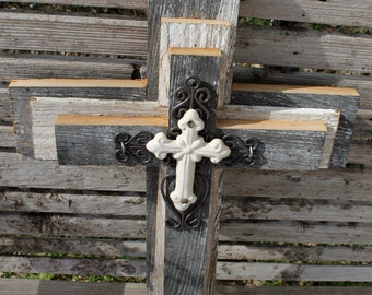 Wooden cross, rustic cross, unique wall crosses, rustic wood crosses, metal cross, cross wall decor, reclaimed wood, decorative crosses