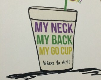 Printable Mardi Gras - Go Cup Print