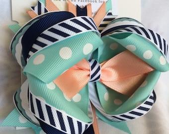Navy Stripe and Aqua bow