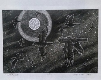 NIGHT FLIGHT -    Original Signed and Numbered Wood Engraving on Archival Rag Paper