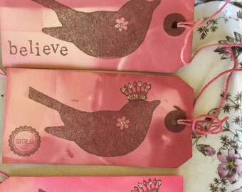 8 | pink dyed | sweet crowned bird | handcrafted | paper tags |