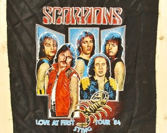Vintage 1984 The SCORPIONS Love at First Sting Tour Satin Banner / Retro Collectable Rare