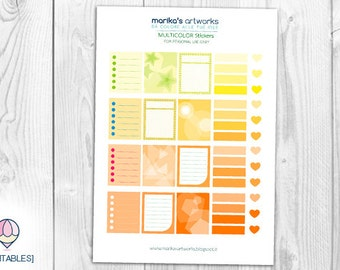 Color Stickers - Yellow & Orange | A4 Pdf INSTANT DOWNLOAD |  Printable file