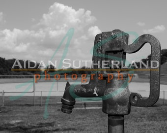 Black and White Water Pump Archival Photo Print