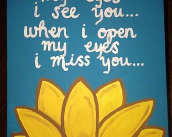 When I close my eyes sunflower canvas