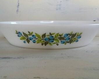 Vintage Glasbake Divided Serving Dish.  Blueberry pattern