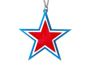 Red White and Blue Nautical Star Necklace