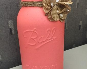 Shabby Chic Mason Jar with Burlap Embellishment