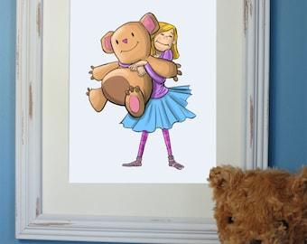 Wall Art, Girl Hugging Teddy, Digital Download, Kid Illustration, Kids Room Print