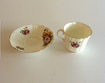 Pretty Vintage Royal Yellow & Purple Pansy Tea Cup and Saucer