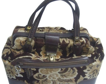 Stylish Brocade and Leather Trim Travel Bag or Train Case. 1970's.