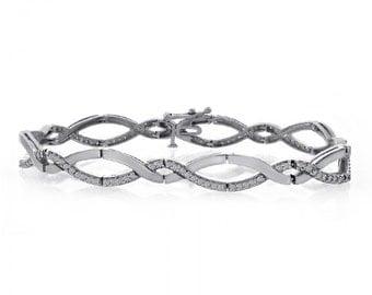 1.00 Carat Diamond Fancy Link 14K White Gold Bracelet